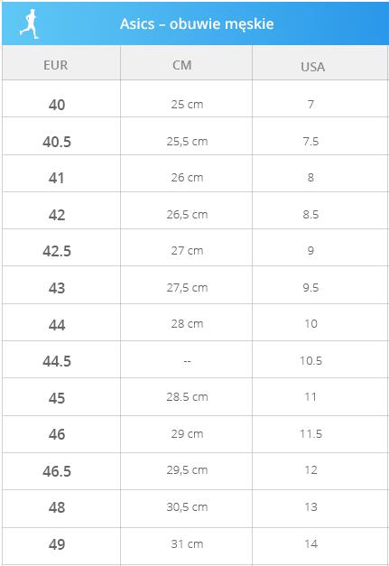 Asics - buty męskie - Tabela rozmiarowa